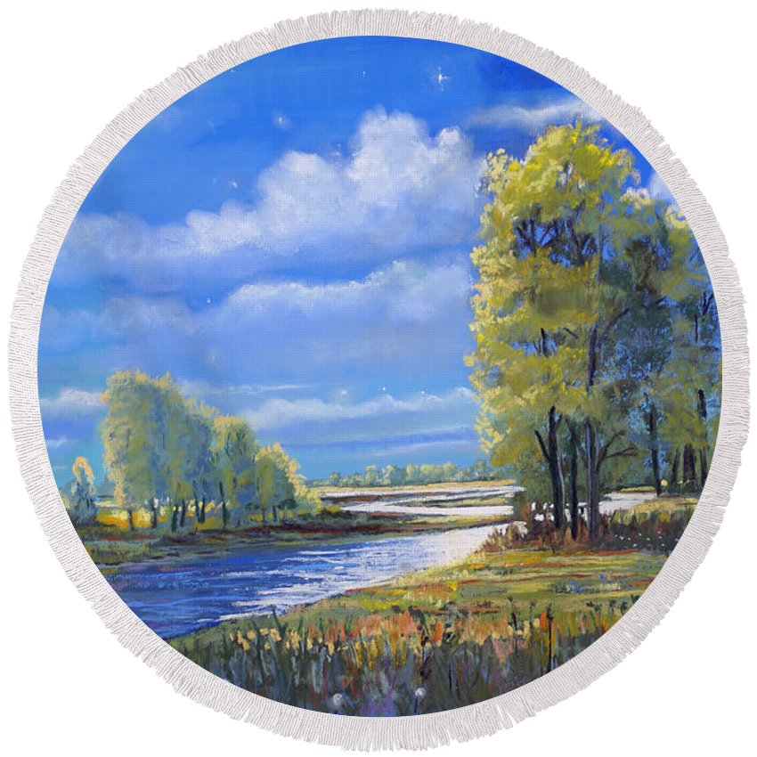 Moonlight Round Beach Towel featuring the painting Moonlight On Clear Creek by Heather Coen