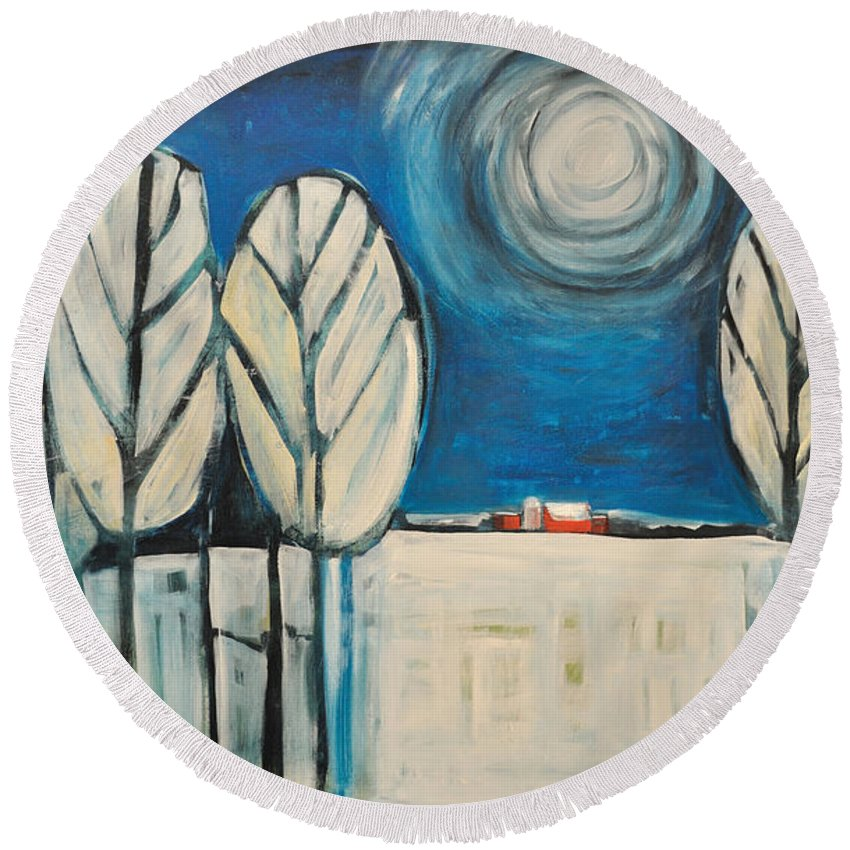 Landscape Round Beach Towel featuring the painting Moonlight On The First Snow by Tim Nyberg
