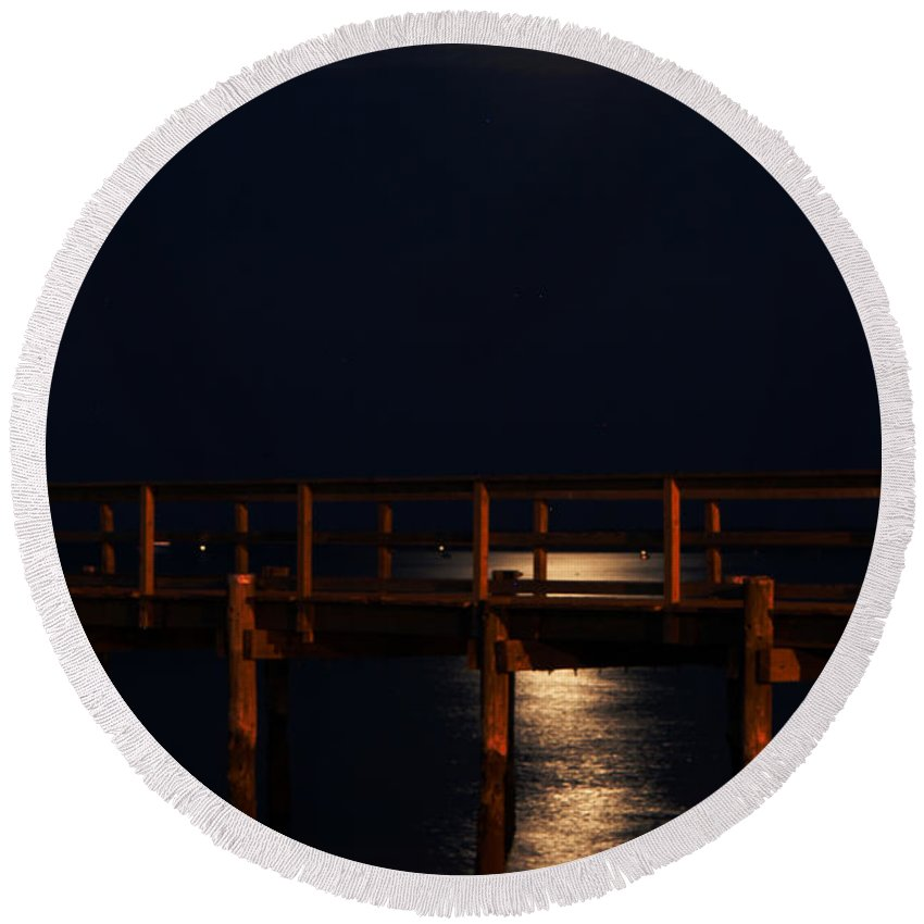 Clay Round Beach Towel featuring the photograph Moonlight On Water by Clayton Bruster