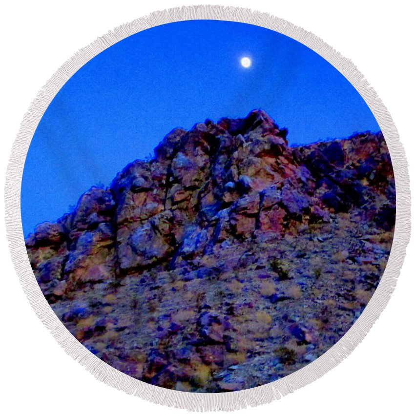 Moon Round Beach Towel featuring the photograph Moonlight Over Peggy's Mountain by Randall Weidner
