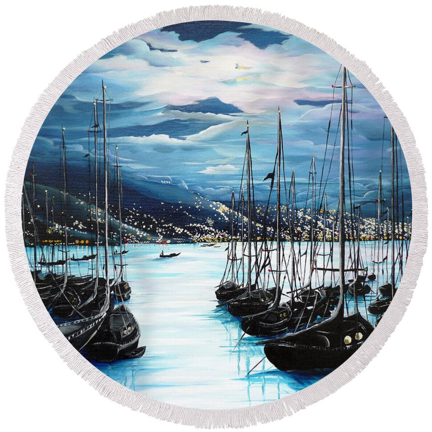 Ocean Painting  Caribbean Seascape Painting Moonlight Painting Yachts Painting Marina Moonlight Port Of Spain Trinidad And Tobago Painting Greeting Card Painting Round Beach Towel featuring the painting Moonlight Over Port Of Spain by Karin Dawn Kelshall- Best