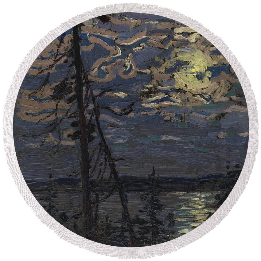20th Century Art Round Beach Towel featuring the painting Moonlight by Tom Thomson