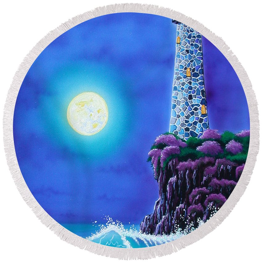 Lighthouse Round Beach Towel featuring the painting Moonlight Vigil by Angie Hamlin
