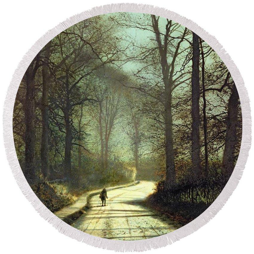 John Atkinson Grimshaw Round Beach Towel featuring the painting Moonlight Walk by John Atkinson Grimshaw