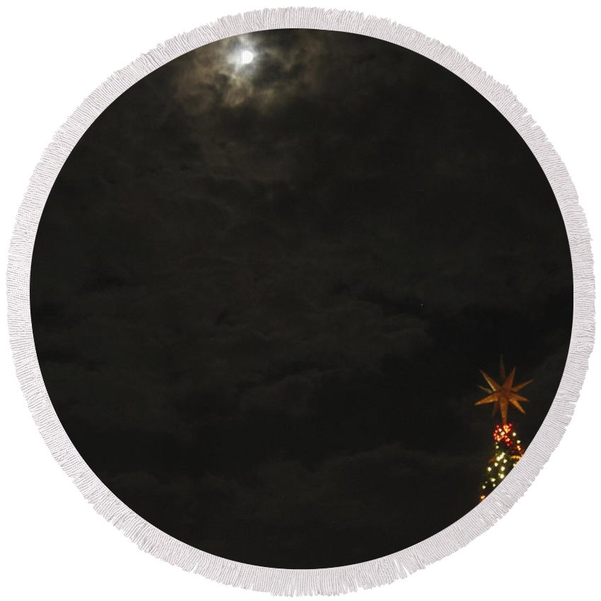 Christmas Round Beach Towel featuring the photograph Moonlit Christmas by Clay Cofer