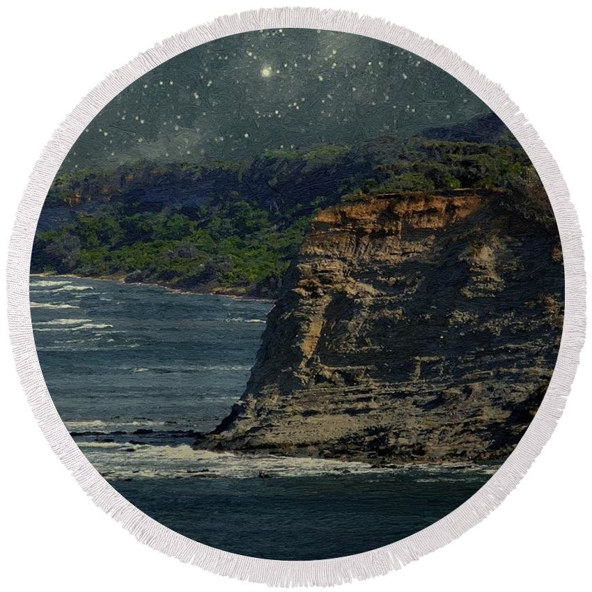 Landscape Round Beach Towel featuring the painting Moonlit Cove by RC DeWinter