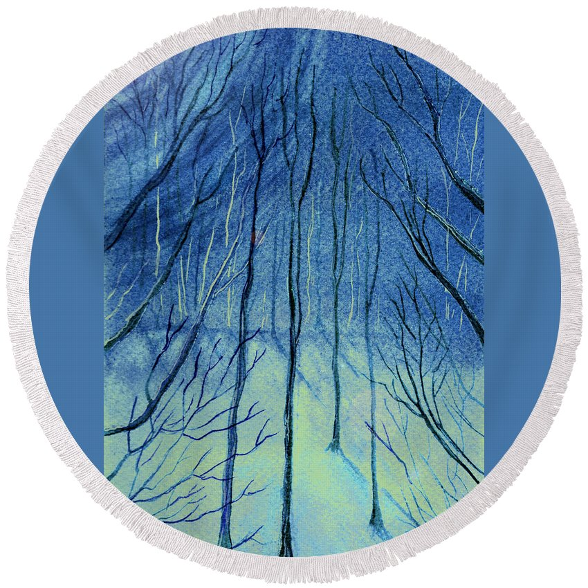 Watercolor Round Beach Towel featuring the painting Moonlit In Blue by Brenda Owen