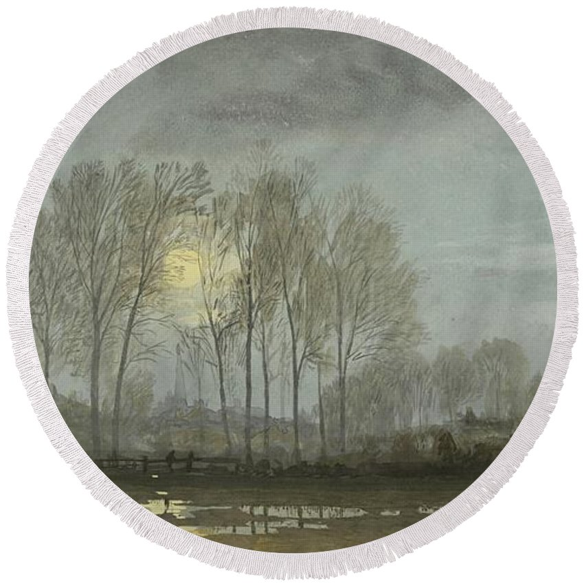William Round Beach Towel featuring the painting Moonlit Landscape by William Trost Richards