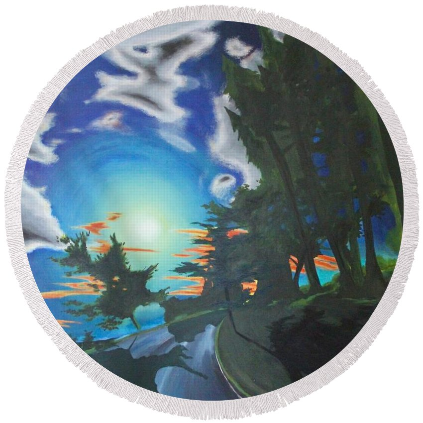 I Love Motorcycle Trips. This Reminds Me Of The Nw Coastal Roads. Round Beach Towel featuring the painting Moonlit Moto by Ross Wood