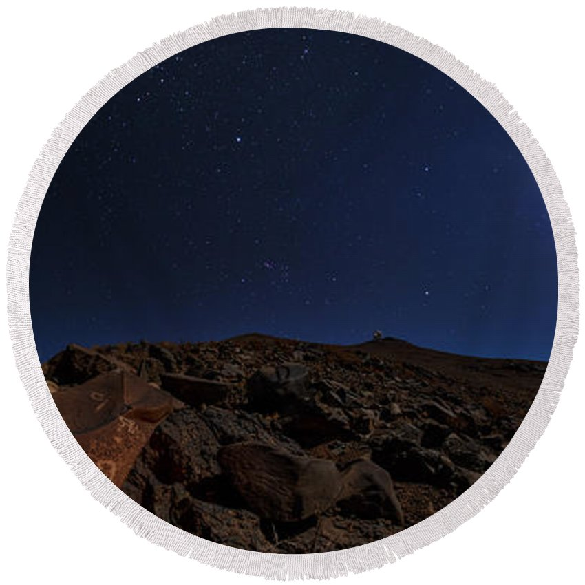 Moonlit Round Beach Towel featuring the photograph Moonlit Night, Atacama Desert, Chile by Babak Tafreshi