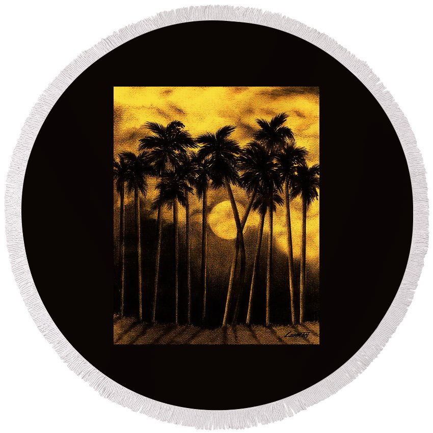 Moonlit Palm Trees In Yellow Round Beach Towel featuring the mixed media Moonlit Palm Trees In Yellow by Larry Lehman