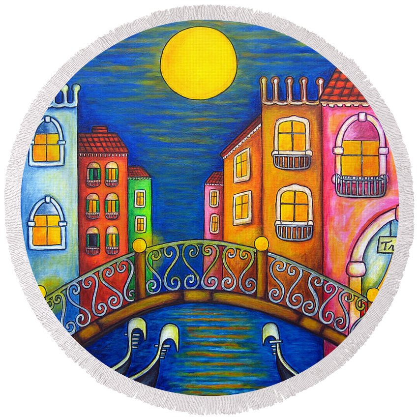 Venice Round Beach Towel featuring the painting Moonlit Venice by Lisa Lorenz