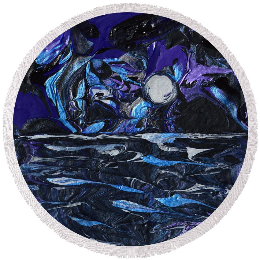 Modern Round Beach Towel featuring the painting Moonlit Waves by Donna Blackhall