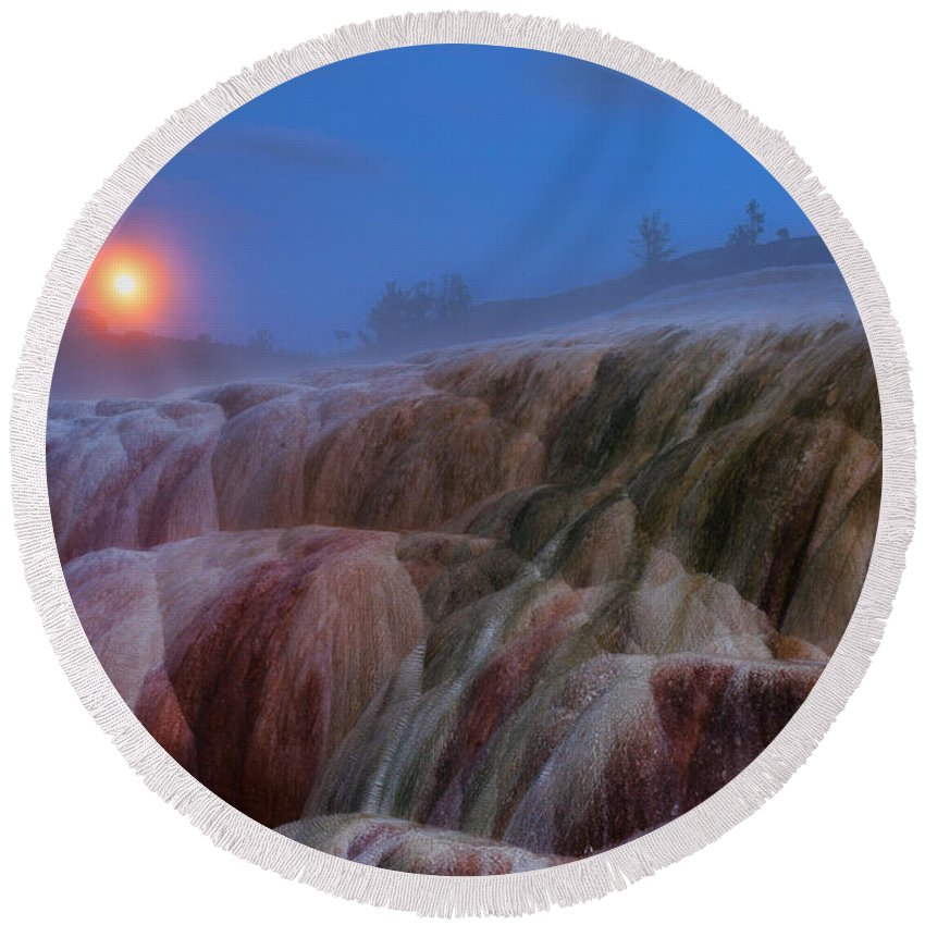 Yellowstone Round Beach Towel featuring the photograph Moonrise At Mammoth by Steve Stuller