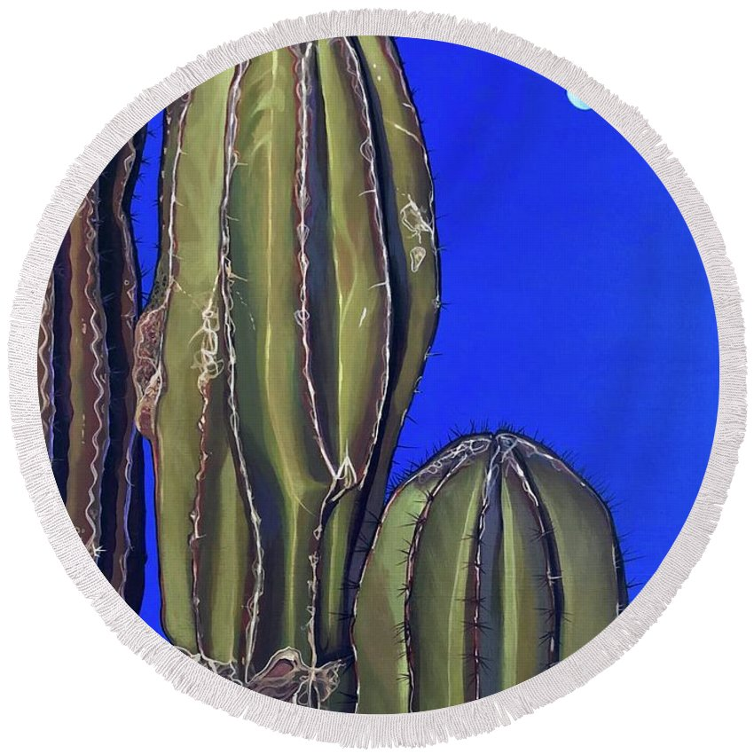 Cactus Round Beach Towel featuring the painting Moonrise by Hunter Jay