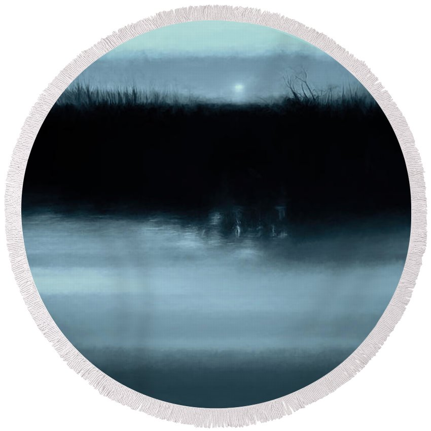 Abstract Round Beach Towel featuring the photograph Moonrise On The Water by Scott Norris