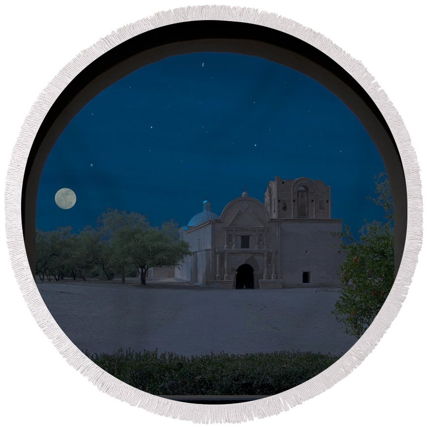 Southwest Round Beach Towel featuring the photograph Moonrise On Tumacacori Mission by Sandra Bronstein