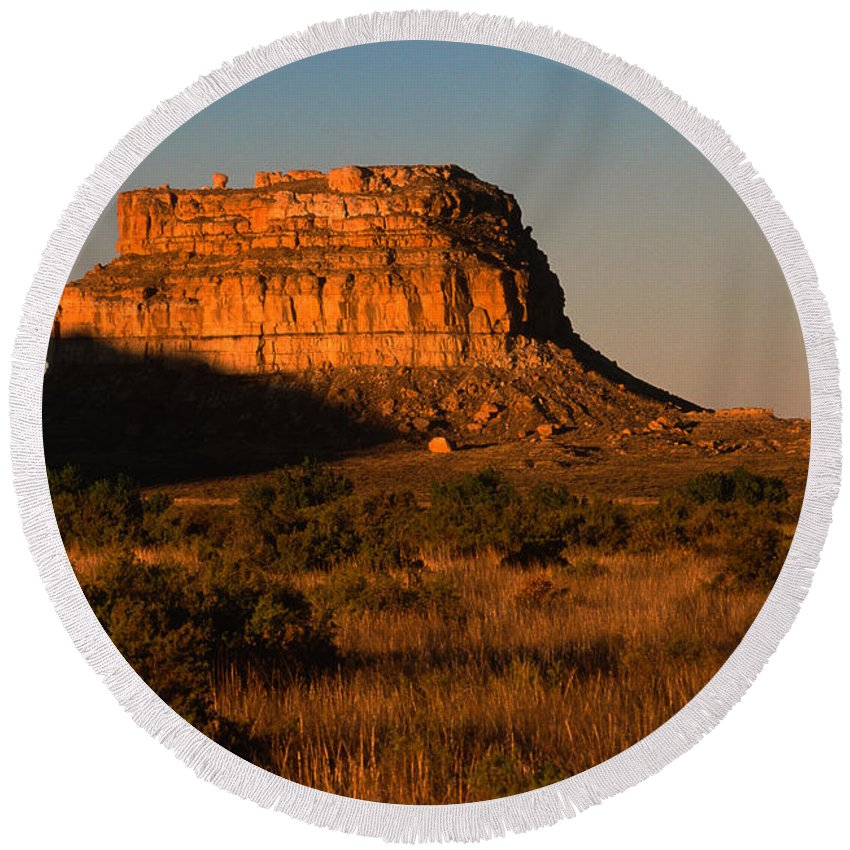 New Mexico Round Beach Towel featuring the photograph Moonset At Fajada Butte by Sandra Bronstein