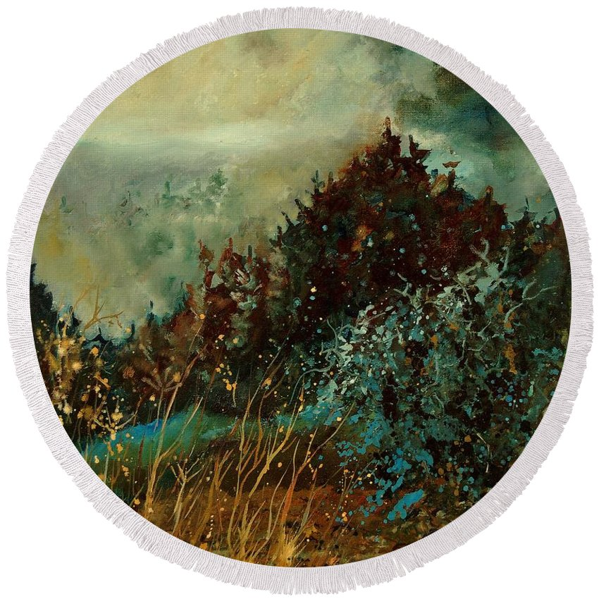 Tree Round Beach Towel featuring the painting Moonshine 5642 by Pol Ledent