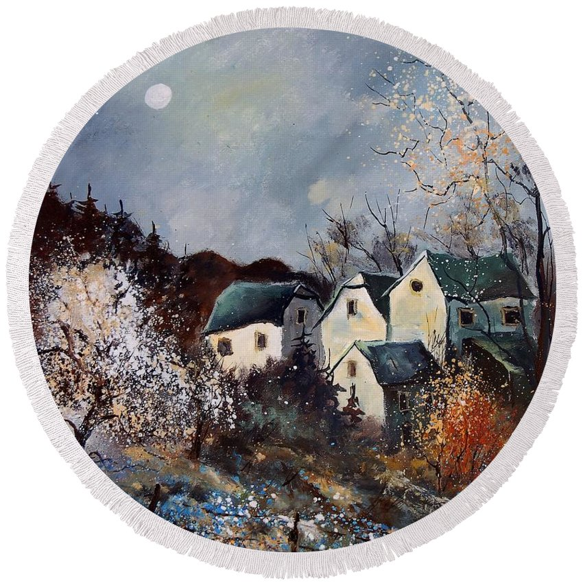 Village Round Beach Towel featuring the painting Moonshine by Pol Ledent