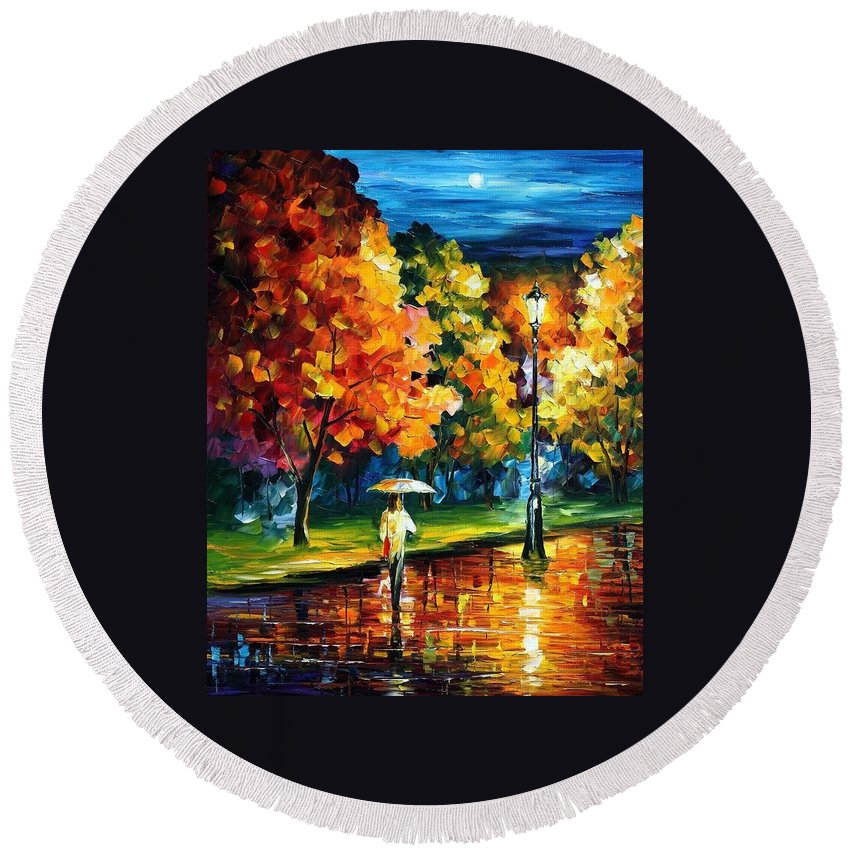 Afremov Round Beach Towel featuring the painting Moony Night by Leonid Afremov