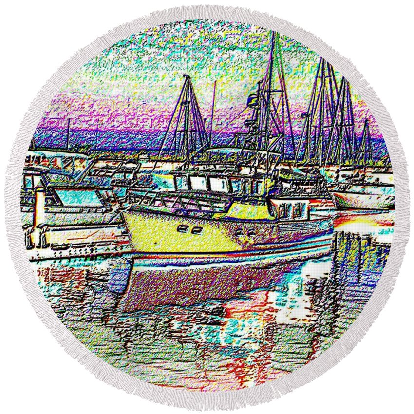 Seattle Round Beach Towel featuring the photograph Moorage by Tim Allen