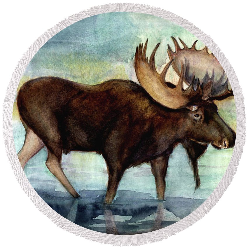 Moose Round Beach Towel featuring the painting Moose Reflections by Angela Courtney
