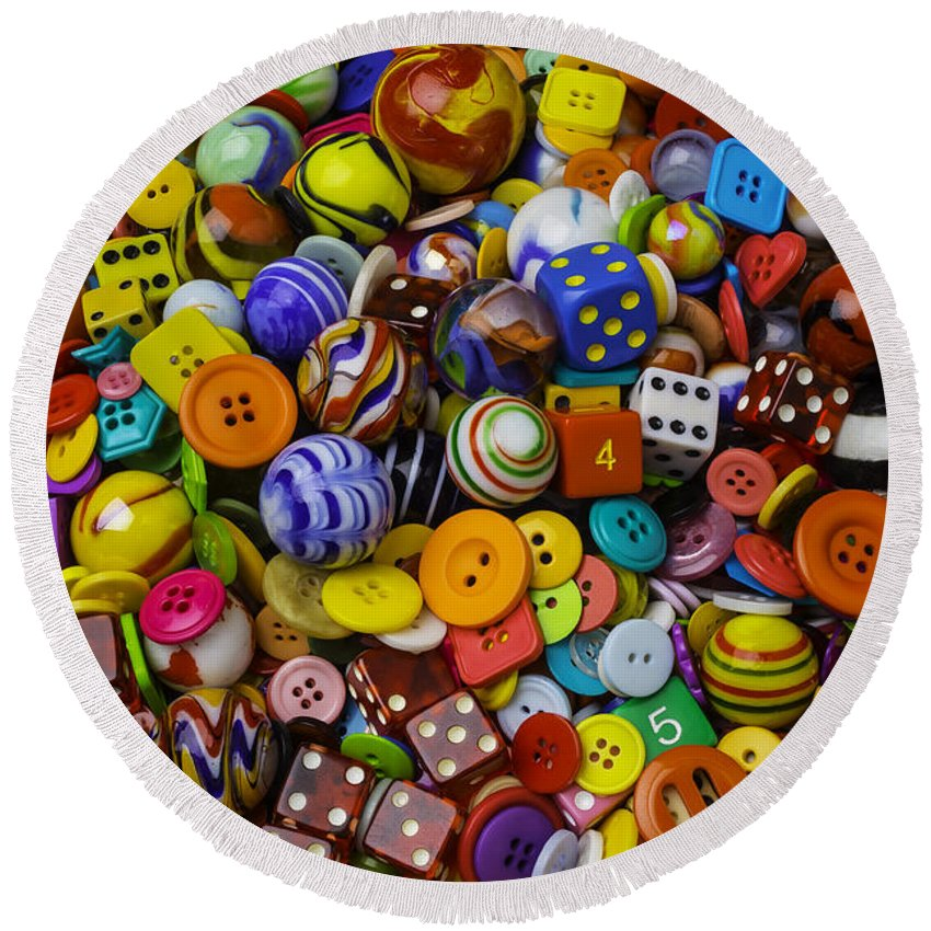 Three Round Beach Towel featuring the photograph More Beautiful Marbles by Garry Gay