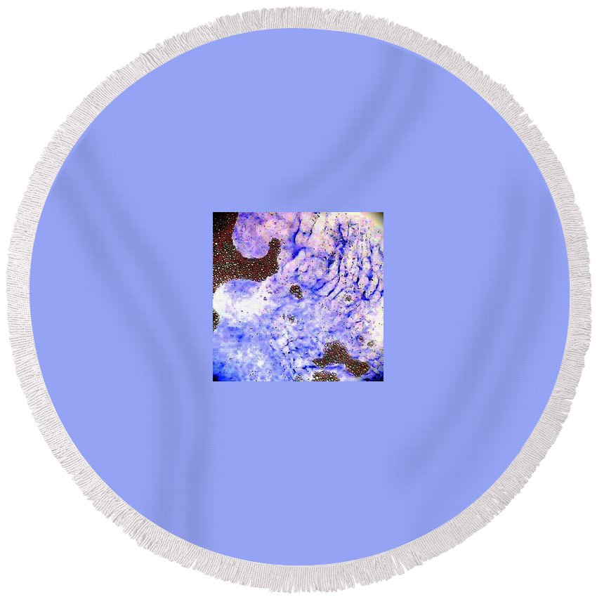 Blue Purple Bubbles Waves Strange Round Beach Towel featuring the photograph More Bubbles by Cindy New
