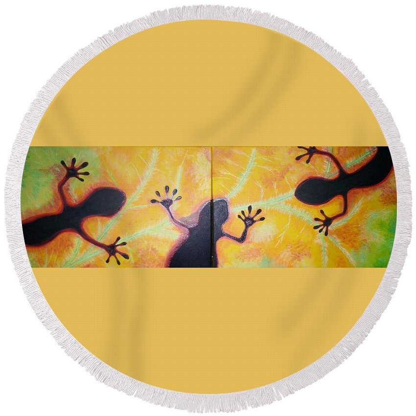 Geckos Round Beach Towel featuring the painting More Geckos by Gary Hogben