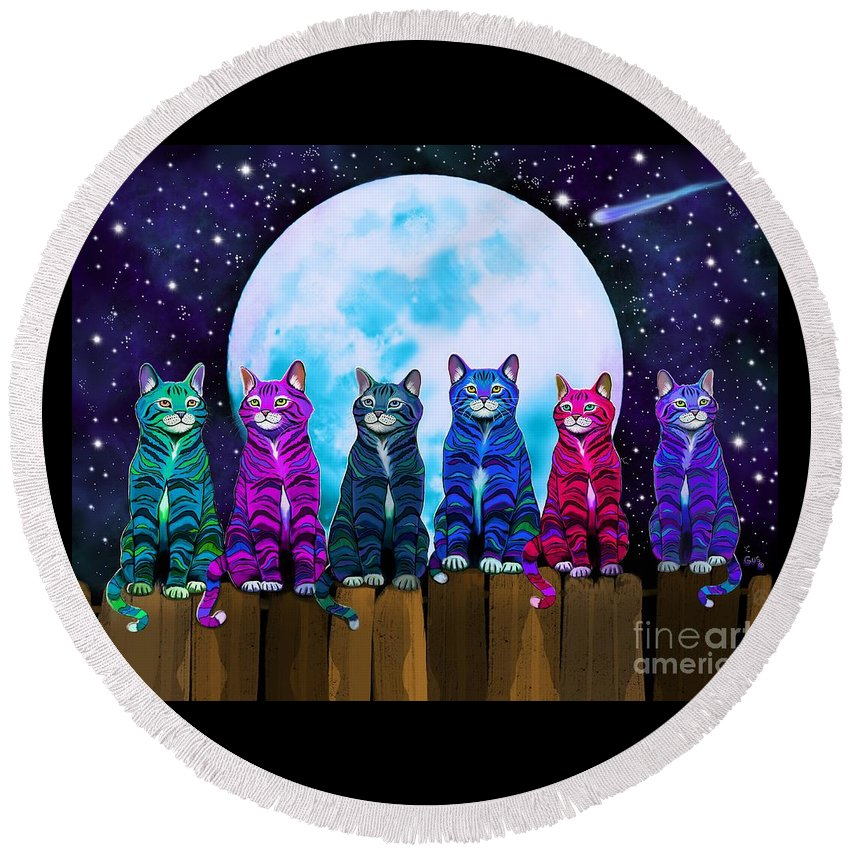 Cats Round Beach Towel featuring the digital art More Moonlight Meowing by Nick Gustafson