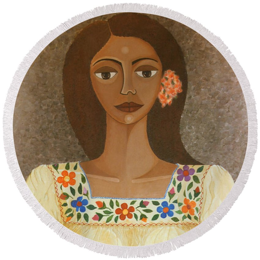Oil Round Beach Towel featuring the painting More Than Flowers She Sold Illusions by Madalena Lobao-Tello