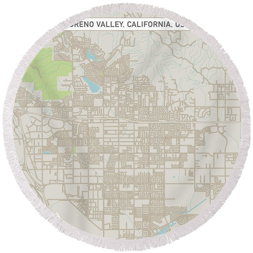Moreno Valley Round Beach Towel featuring the digital art Moreno Valley California Us City Street Map by Frank Ramspott