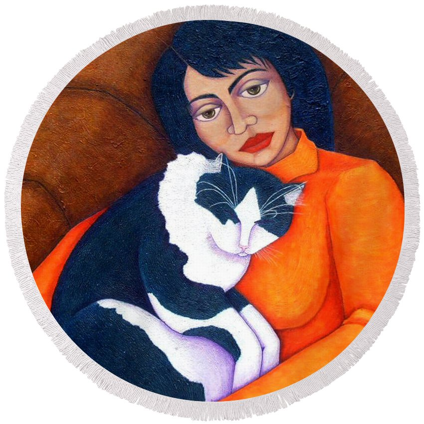 Woman Round Beach Towel featuring the painting Morgana With Woman by Madalena Lobao-Tello