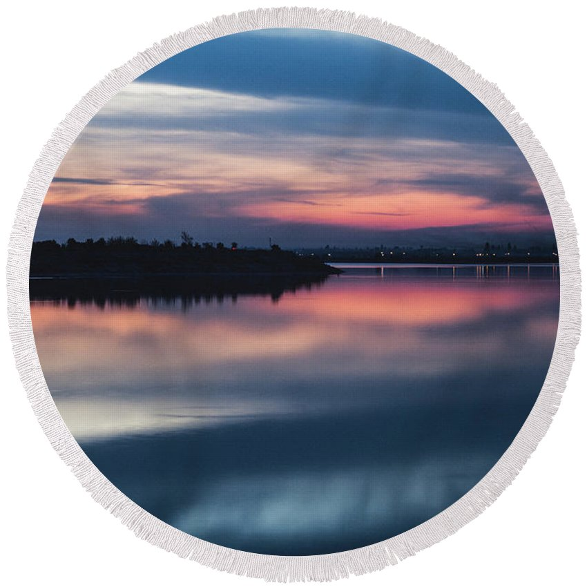 Sunset Round Beach Towel featuring the photograph Morii Lake At Sunset by Eduard Stoica