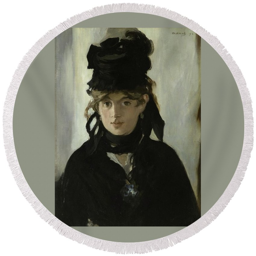 Manet - Erthe Morisot With A Bouquet Of Violets 1872 Round Beach Towel featuring the painting Morisot With A Bouquet Of Violets by MotionAge Designs