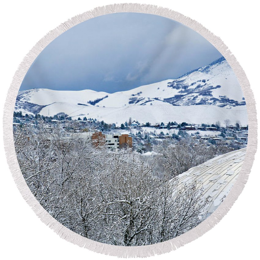 Temple Round Beach Towel featuring the photograph Mormon Tabernacle In Snow II by Marilyn Hunt