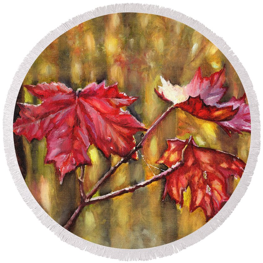 Autumn Round Beach Towel featuring the painting Morning After Autumn Rain by Shana Rowe Jackson