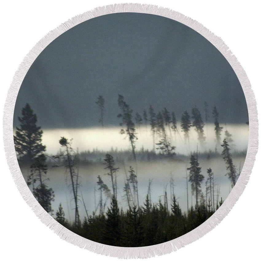 Yellowstone National Park Round Beach Towel featuring the photograph Morning Along The Madison by Marty Koch