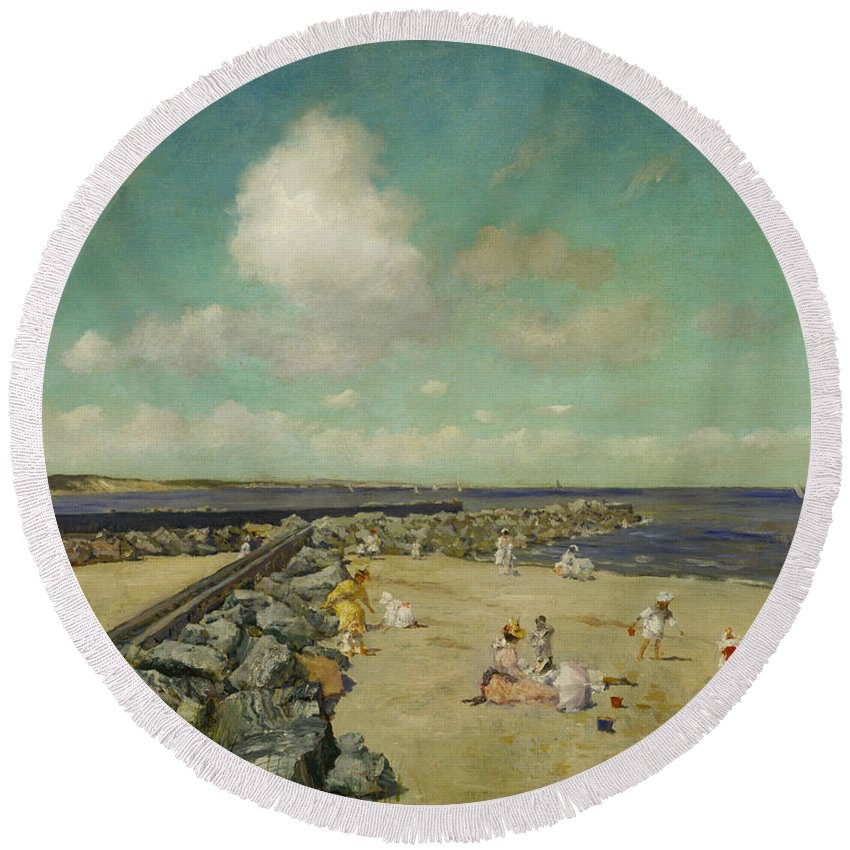 William Merritt Chase Round Beach Towel featuring the painting Morning At Breakwater, Shinnecock by William Merritt Chase