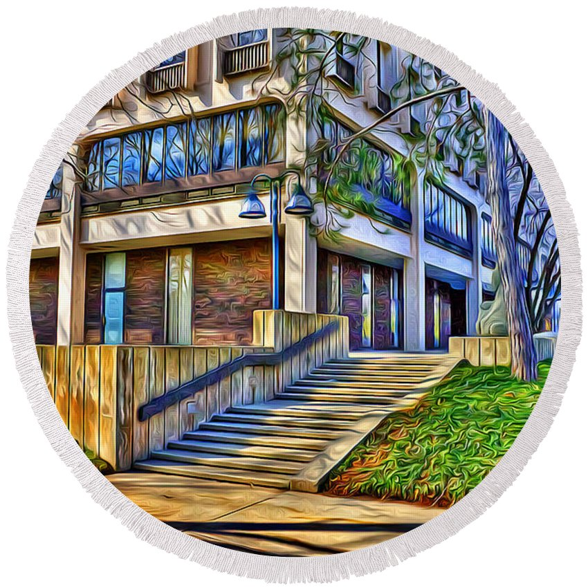 Howard County Round Beach Towel featuring the digital art Morning Before Business by Stephen Younts