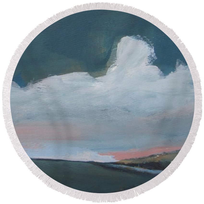 Landscape Round Beach Towel featuring the painting Morning Begins by Vesna Antic