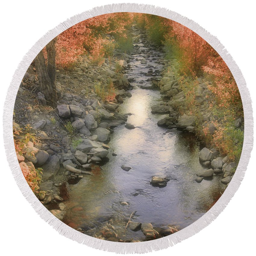 Creek Round Beach Towel featuring the photograph Morning By The Creek by Tara Turner