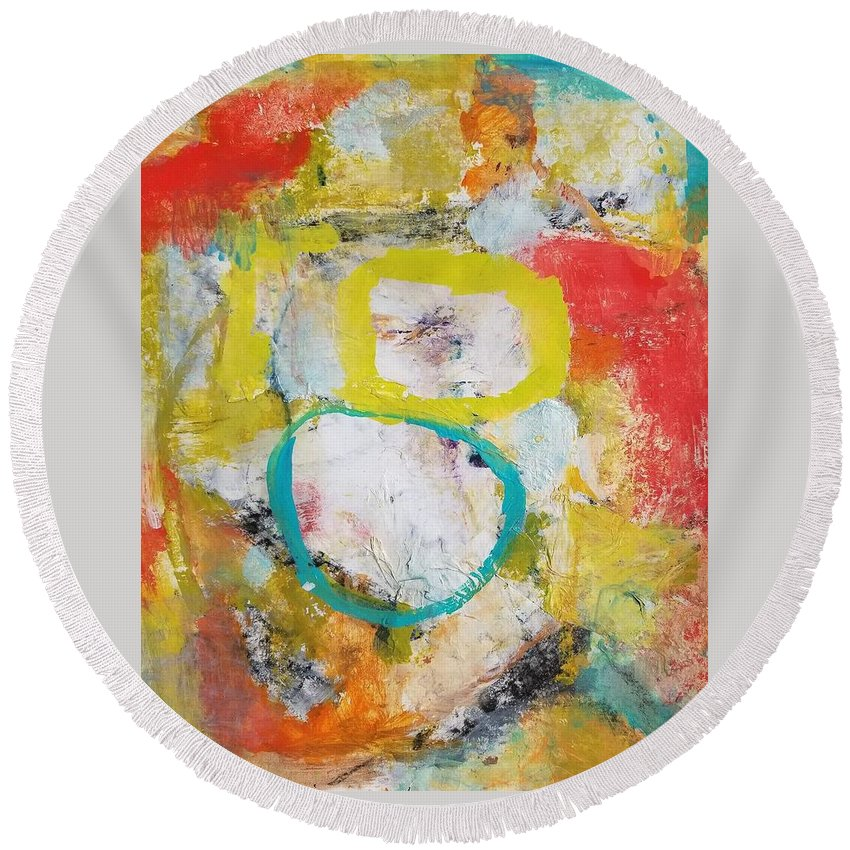 Abstract Round Beach Towel featuring the painting Morning Calm by Patricia Byron