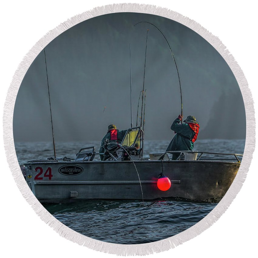 Fishing Round Beach Towel featuring the photograph Morning Catch by Jason Brooks