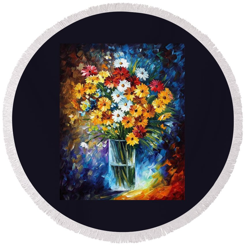 Afremov Round Beach Towel featuring the painting Morning Charm by Leonid Afremov