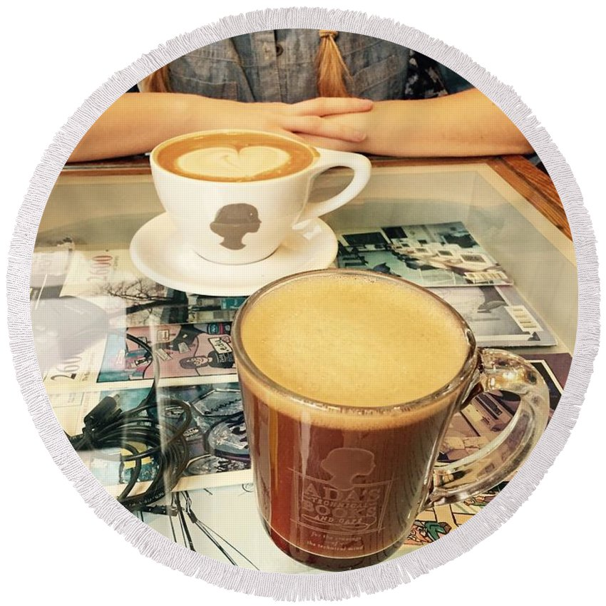Coffee Round Beach Towel featuring the photograph Morning Coffee by LeLa Becker