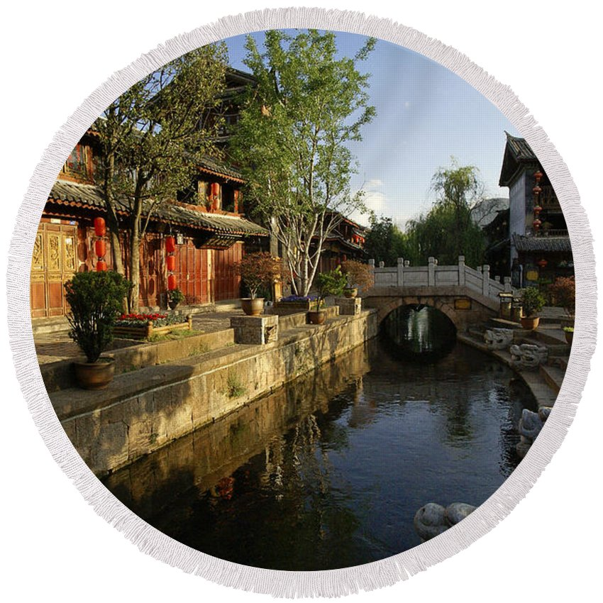 Asia Round Beach Towel featuring the photograph Morning Comes to Lijiang Ancient Town by Michele Burgess