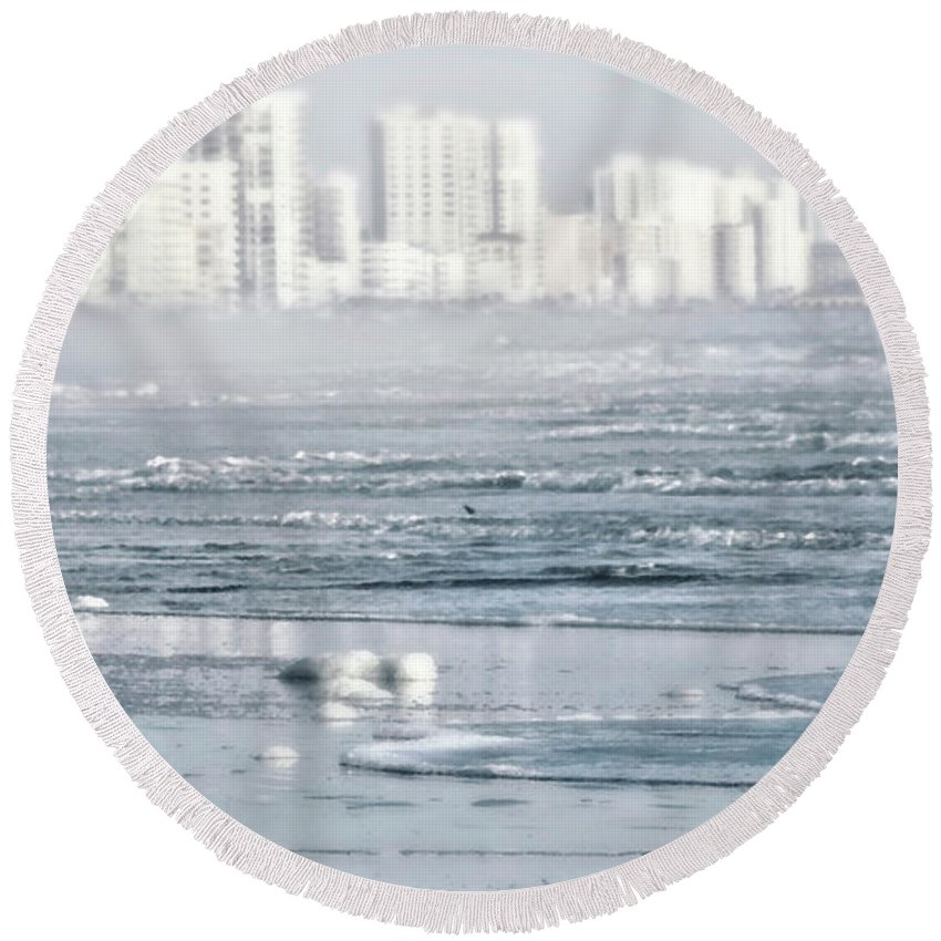 Cityscape Round Beach Towel featuring the photograph Morning Dreams In Daytona by Janie Johnson