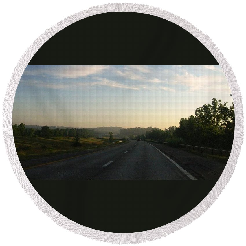 Landscape Round Beach Towel featuring the photograph Morning Drive by Rhonda Barrett